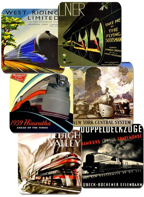 Art Deco Railway Locomotive Poster Coasters Set Of 6. High Quality Cork. Train